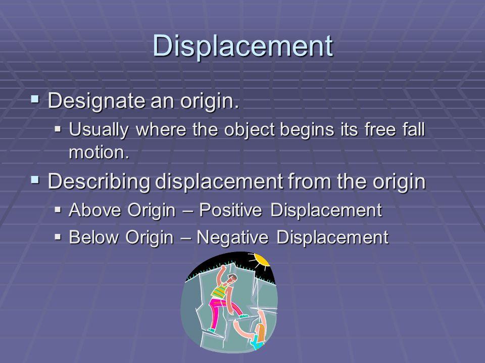 Displacement Designate an origin.