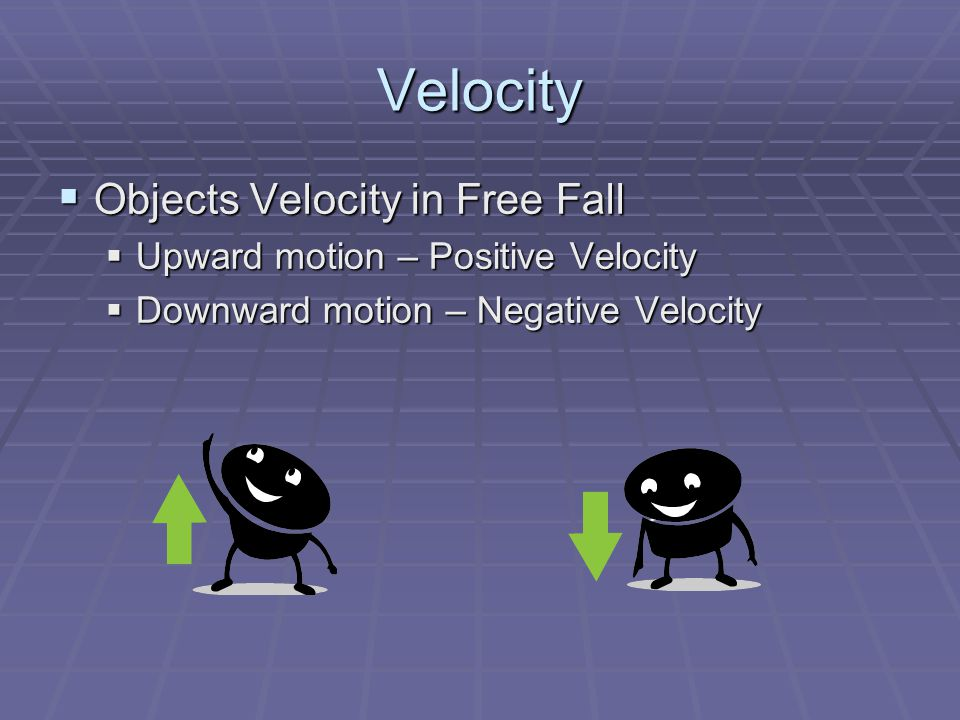 Velocity Objects Velocity in Free Fall