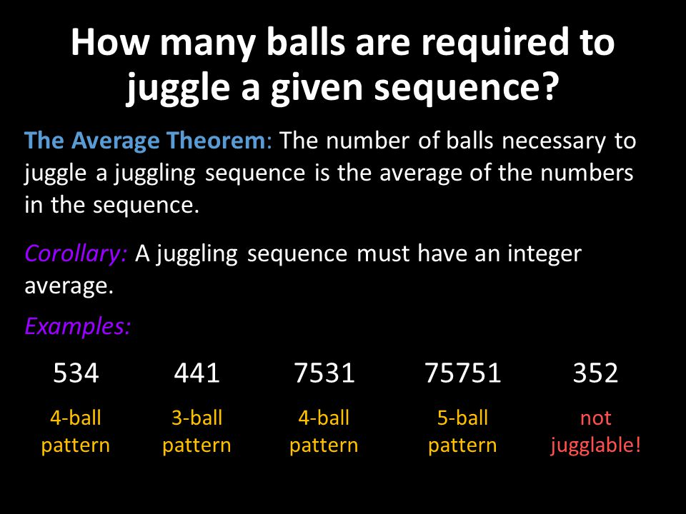How many balls are required to juggle a given sequence