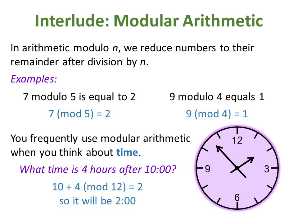 Interlude: Modular Arithmetic