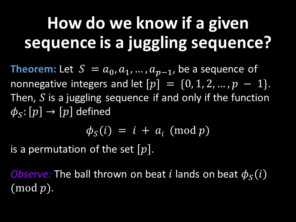 How do we know if a given sequence is a juggling sequence