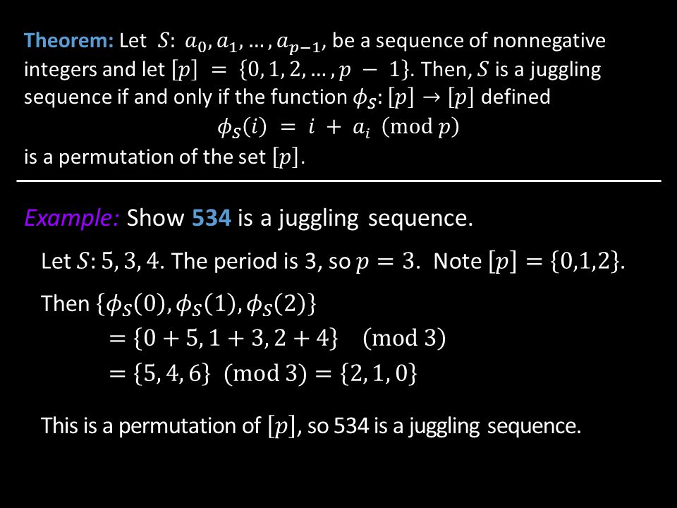 Example: Show 534 is a juggling sequence.