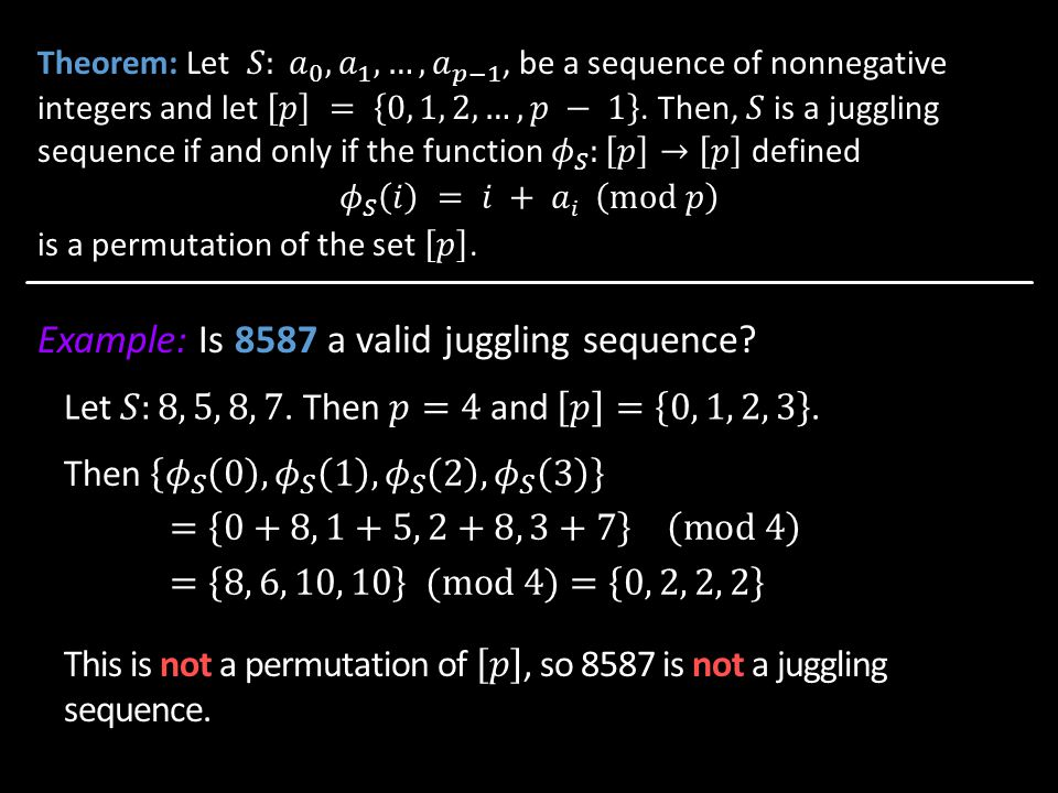 Example: Is 8587 a valid juggling sequence