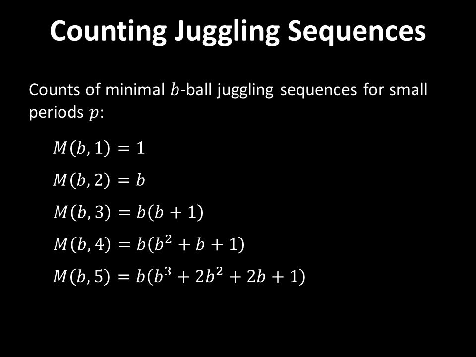 Counting Juggling Sequences