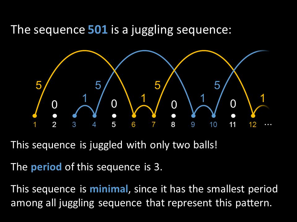 The sequence 501 is a juggling sequence: