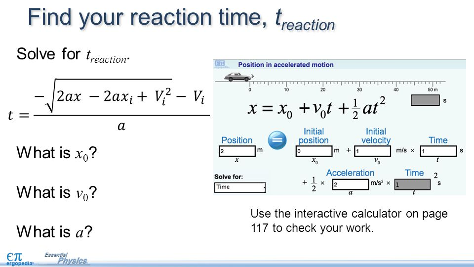Find your reaction time, treaction