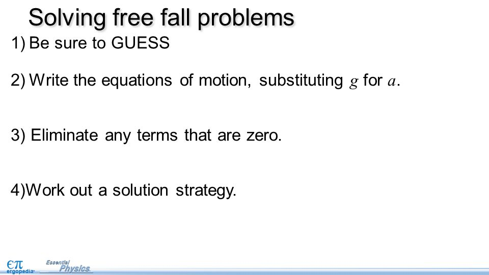 Solving free fall problems
