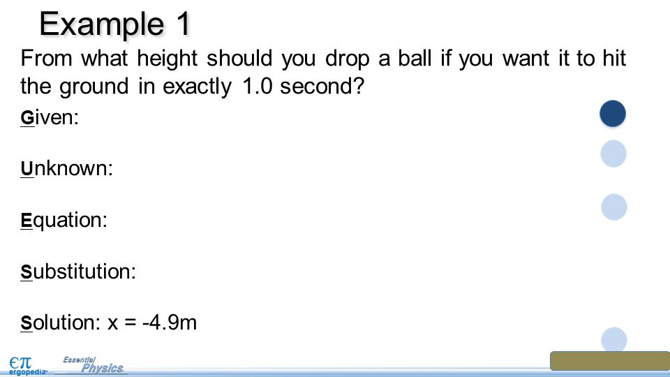 Example 1 From what height should you drop a ball if you want it to hit the ground in exactly 1.0 second