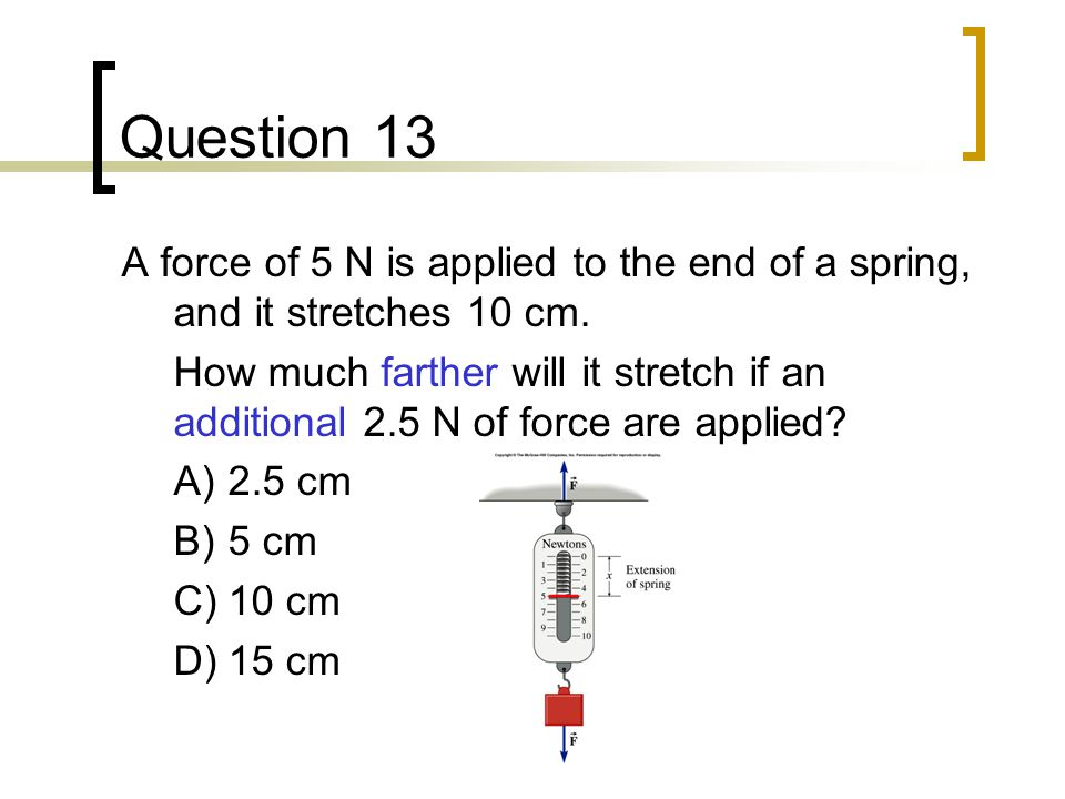 Question 13 A force of 5 N is applied to the end of a spring, and it stretches 10 cm.