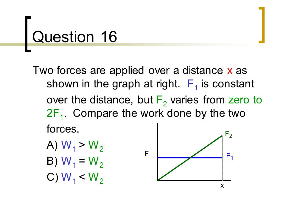 Question 16 Two forces are applied over a distance x as shown in the graph at right. F1 is constant.