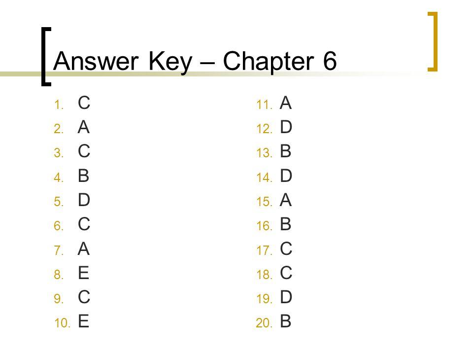 Answer Key – Chapter 6 C A B D E A D B C