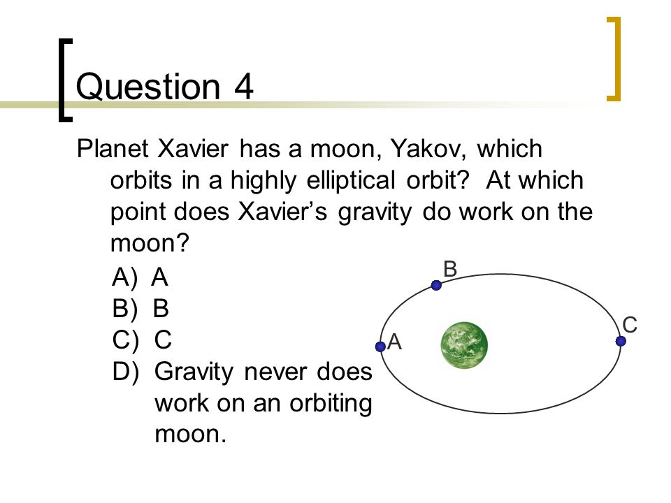 Question 4 Planet Xavier has a moon, Yakov, which orbits in a highly elliptical orbit At which point does Xavier's gravity do work on the moon