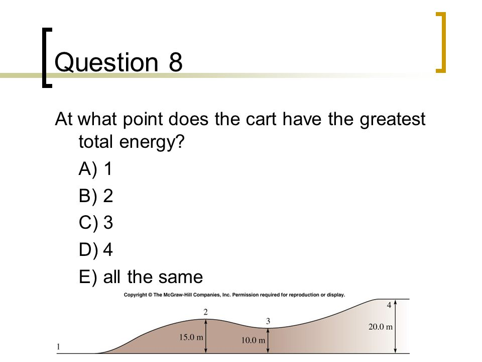 Question 8 At what point does the cart have the greatest total energy