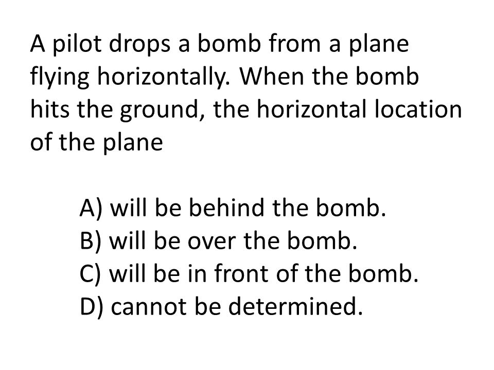 A pilot drops a bomb from a plane flying horizontally