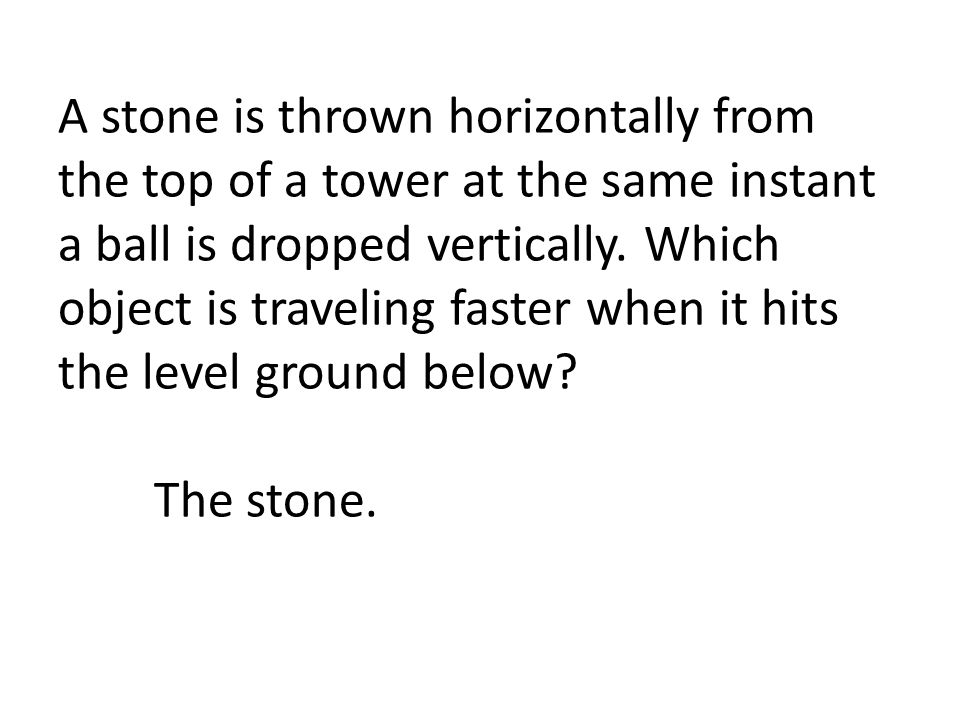 A stone is thrown horizontally from the top of a tower at the same instant a ball is dropped vertically.