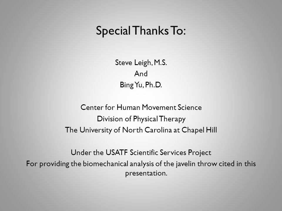 Special Thanks To: Steve Leigh, M.S. And Bing Yu, Ph.D.