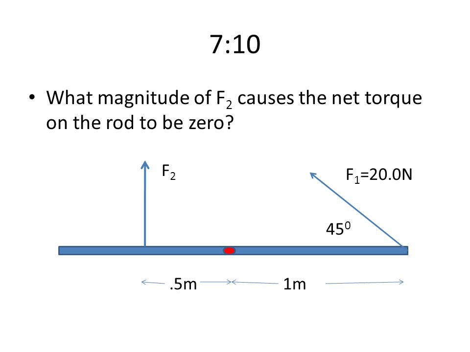 7:10 What magnitude of F2 causes the net torque on the rod to be zero