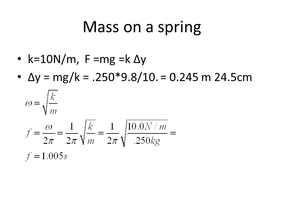 Mass on a spring k=10N/m, F =mg =k Δy