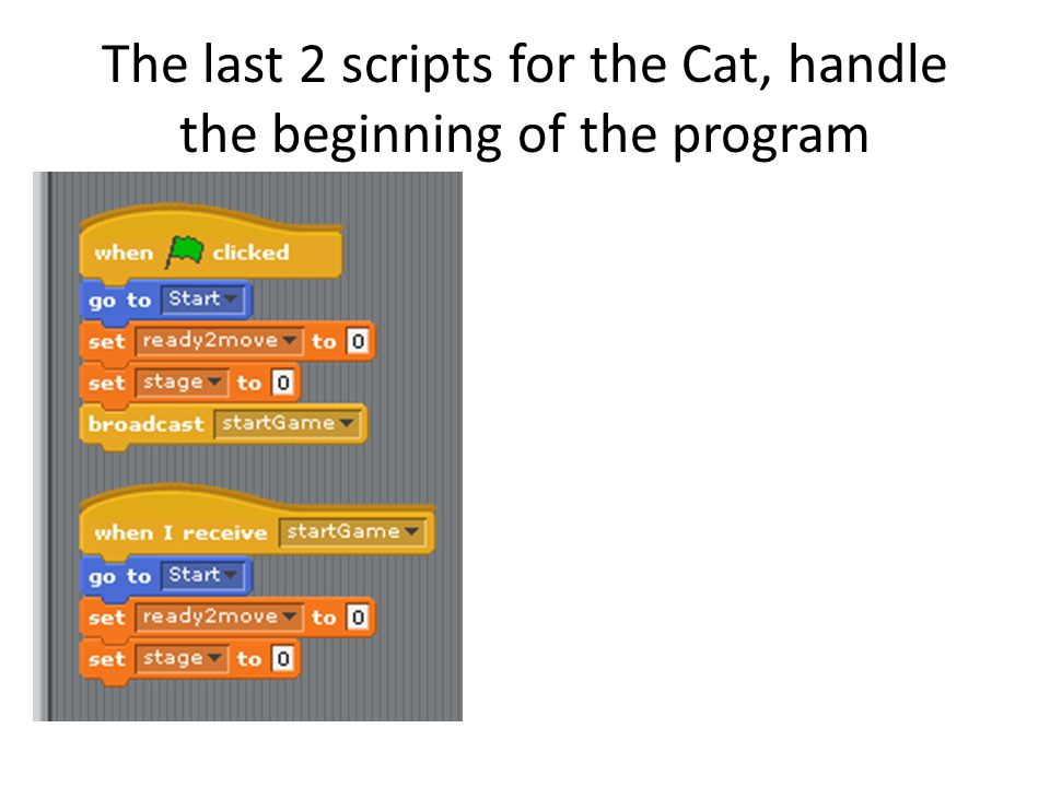 The last 2 scripts for the Cat, handle the beginning of the program