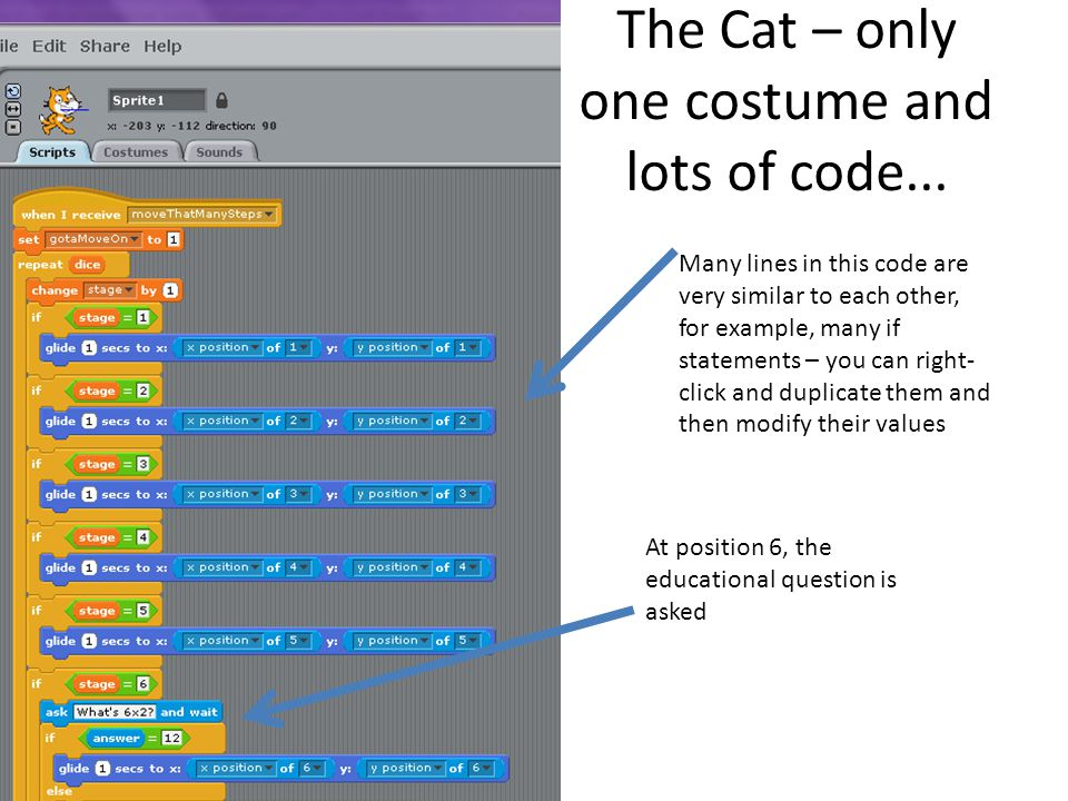 The Cat – only one costume and lots of code...