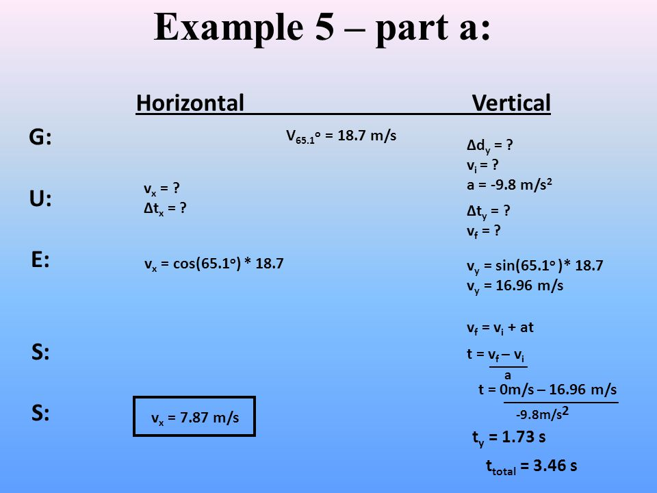 Example 5 – part a: Horizontal Vertical G: U: E: S: ty = 1.73 s
