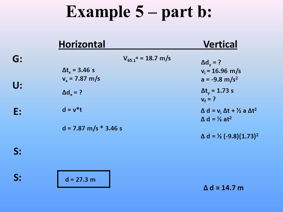 Example 5 – part b: Horizontal Vertical G: U: E: S: Δ d = 14.7 m
