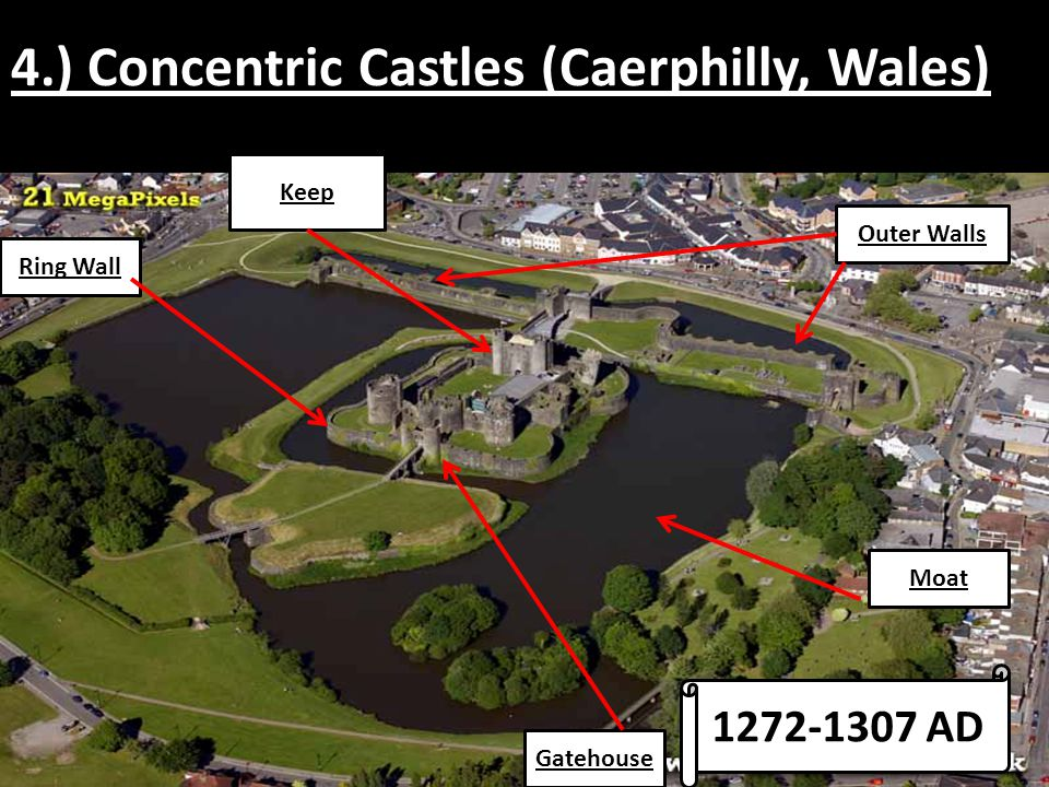 4.) Concentric Castles (Caerphilly, Wales)