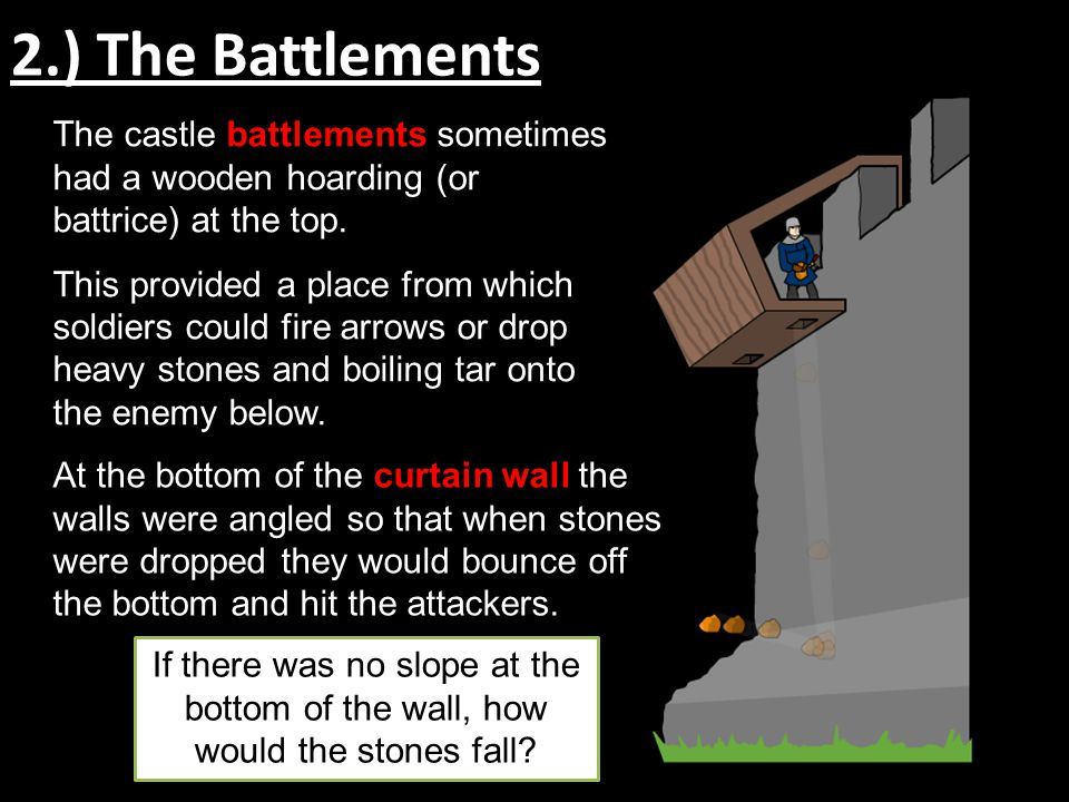 2.) The Battlements The castle battlements sometimes had a wooden hoarding (or battrice) at the top.