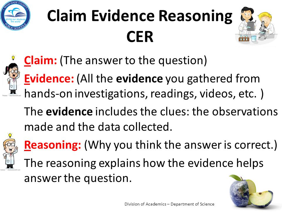 Claim Evidence Reasoning CER