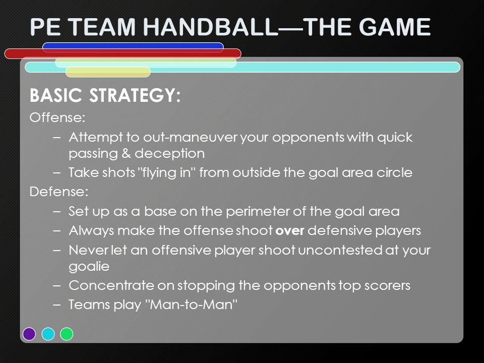 PE TEAM HANDBALL—THE GAME