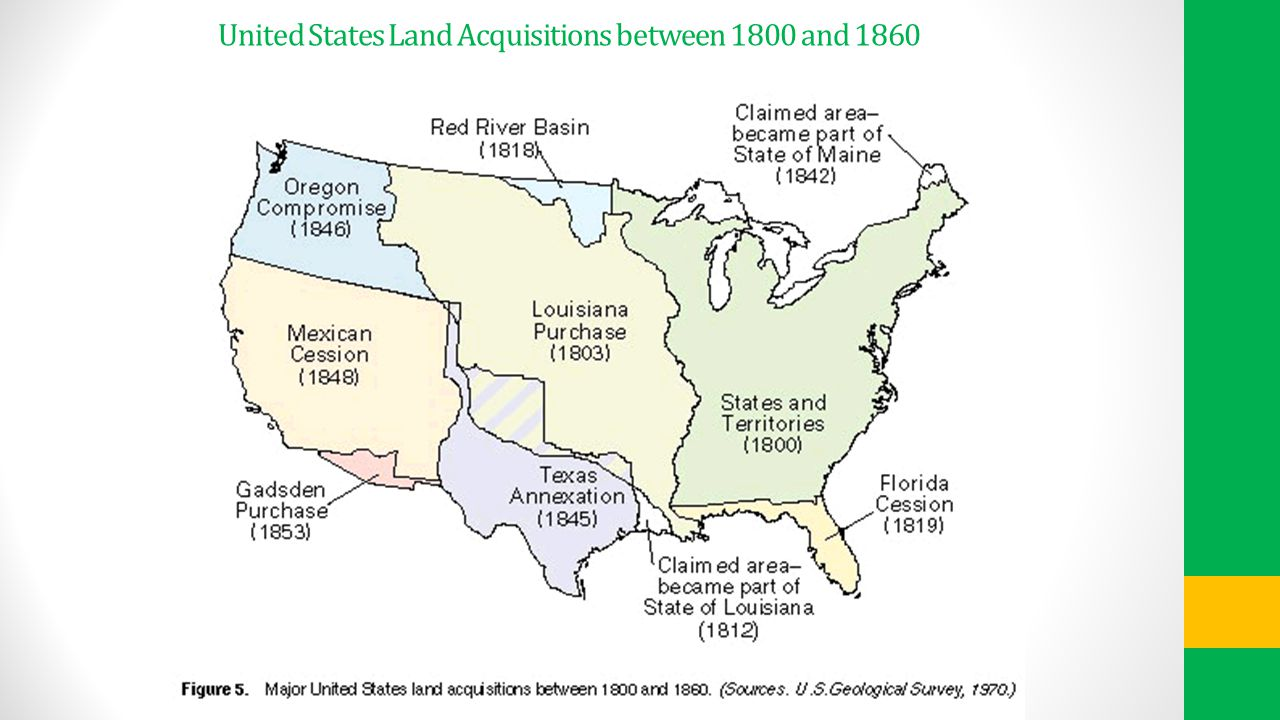 United States Land Acquisitions between 1800 and 1860
