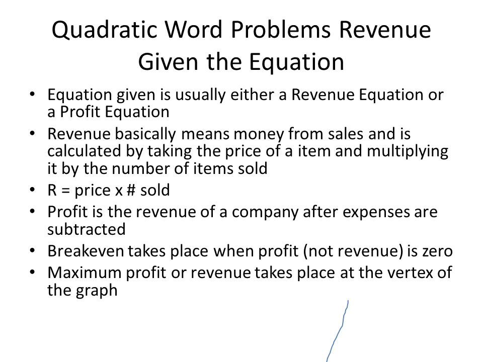 Quadratic Word Problems Revenue Given the Equation