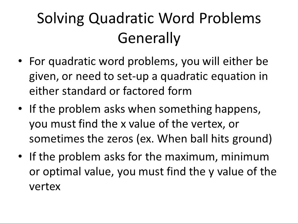 Solving Word Problems Given the Quadratic Equation ppt download – Quadratic Function Word Problems Worksheet