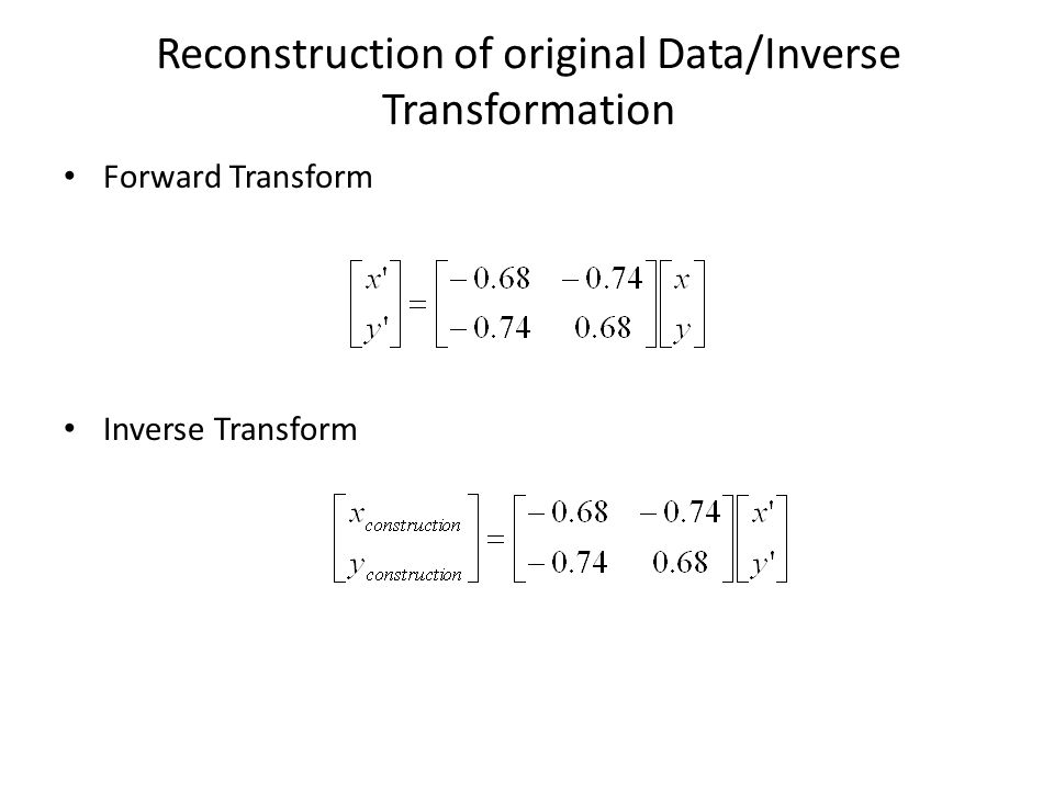 Reconstruction of original Data/Inverse Transformation