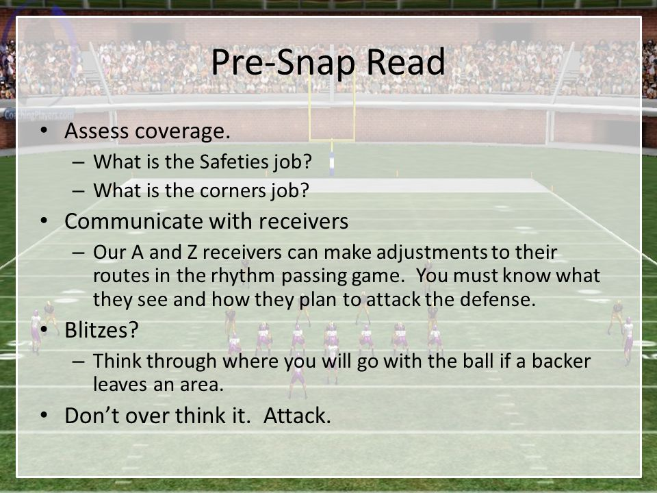 Pre-Snap Read Assess coverage. Communicate with receivers Blitzes