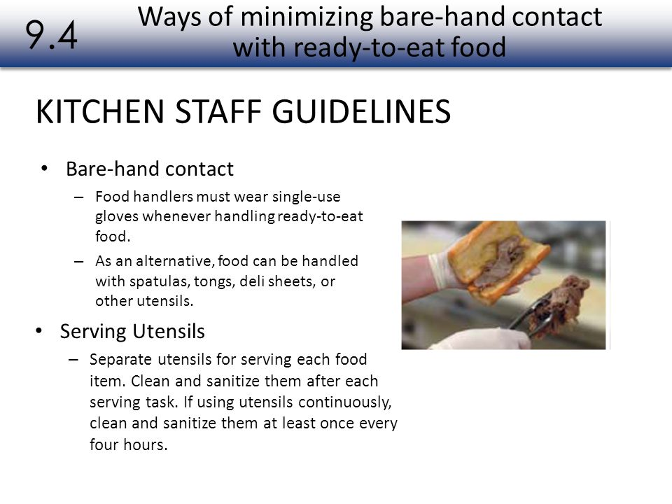 Ways of minimizing bare-hand contact with ready-to-eat food