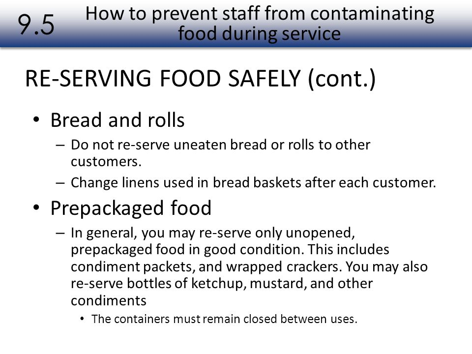 How to prevent staff from contaminating food during service
