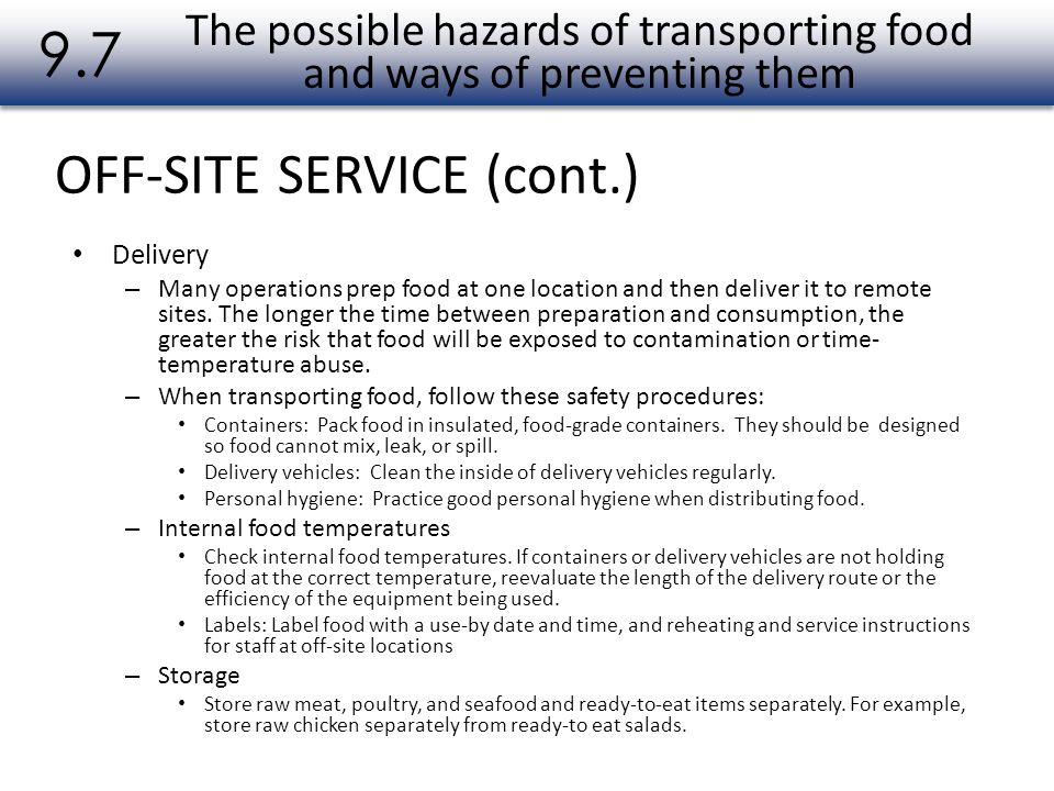 The possible hazards of transporting food and ways of preventing them