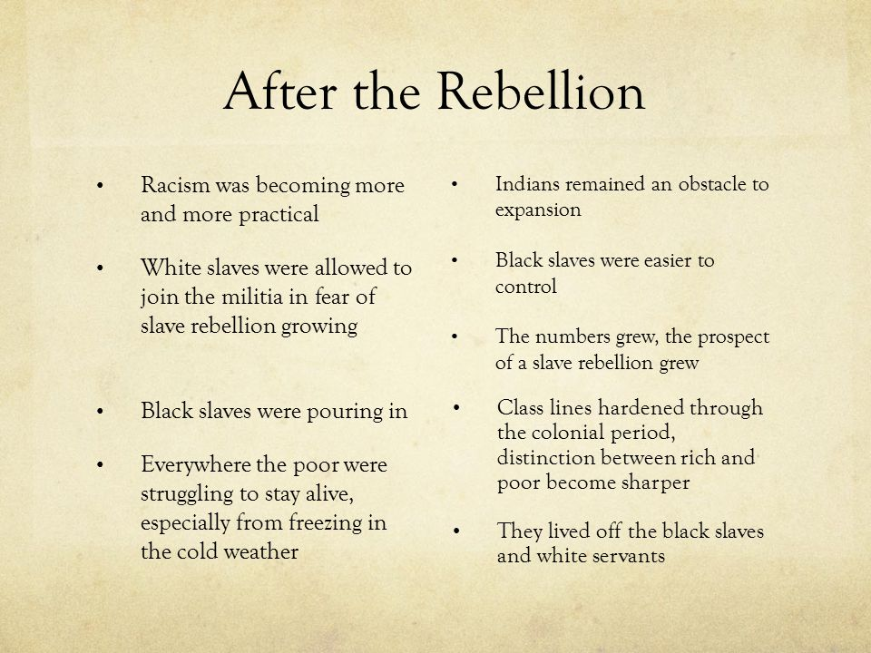 After the Rebellion Racism was becoming more and more practical