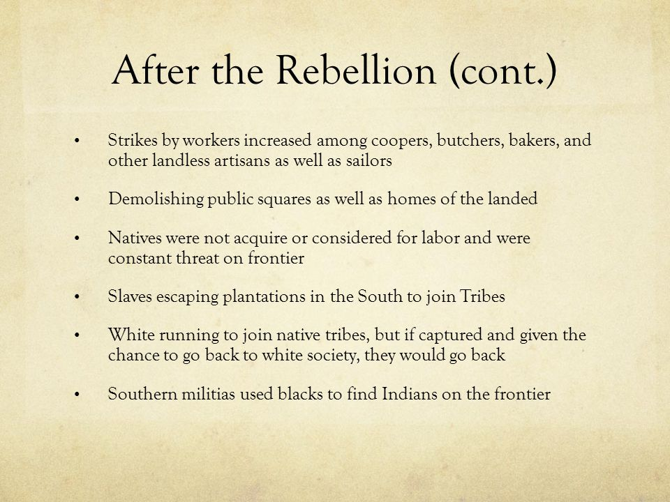 After the Rebellion (cont.)