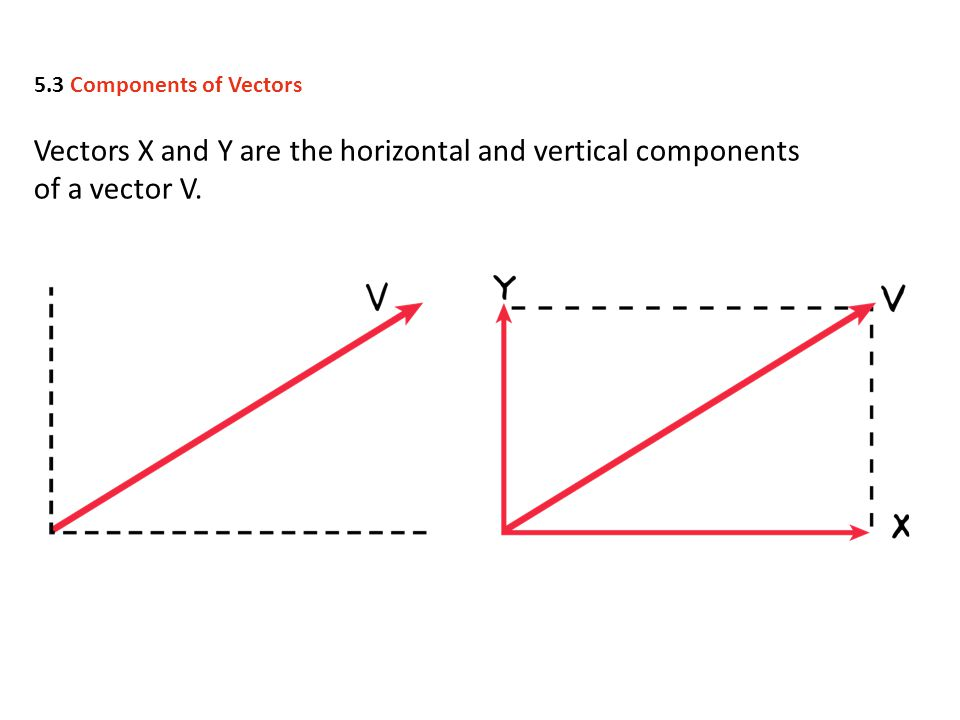 5.3 Components of Vectors Vectors X and Y are the horizontal and vertical components of a vector V.