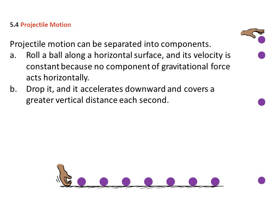 Projectile motion can be separated into components.