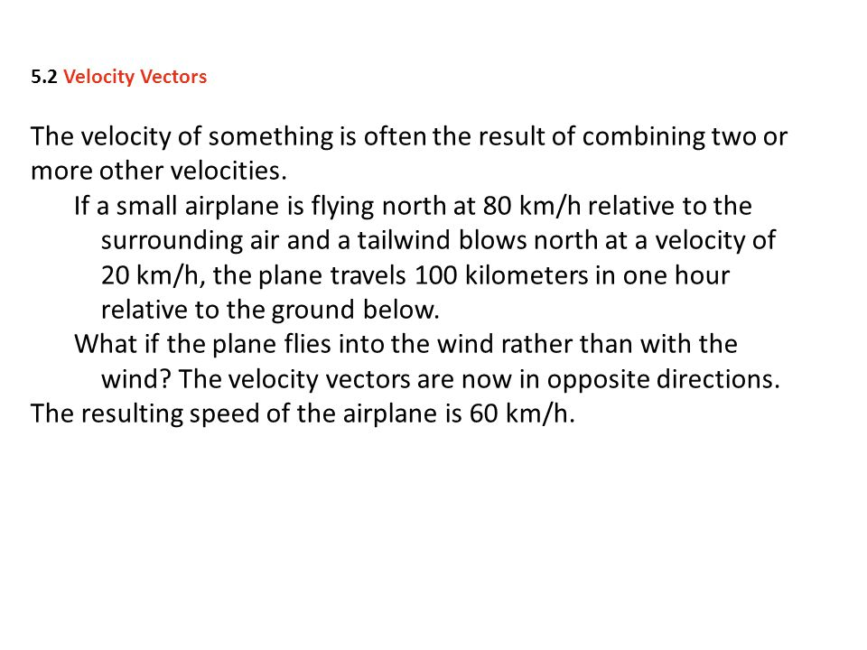 The resulting speed of the airplane is 60 km/h.