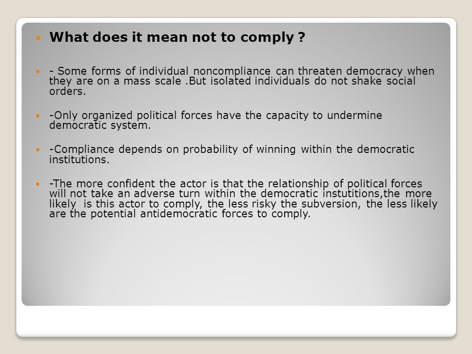 What does it mean not to comply
