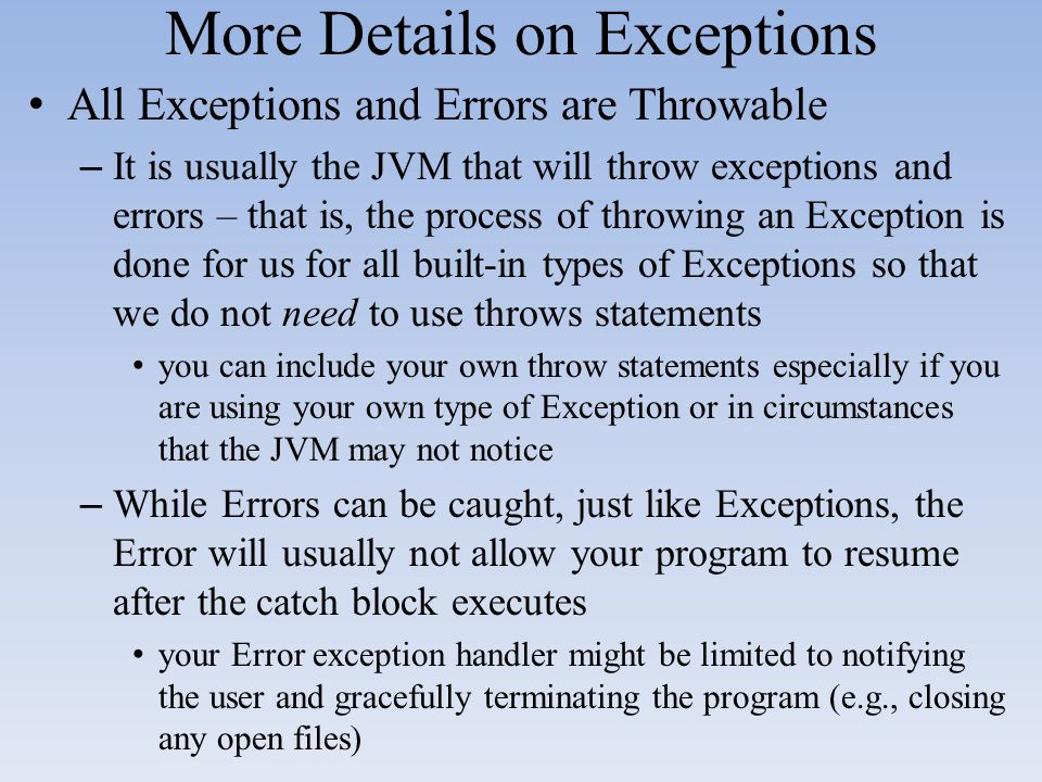 More Details on Exceptions