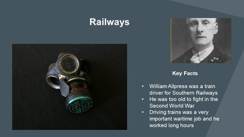 Railways Key Facts. William Allpress was a train driver for Southern Railways. He was too old to fight in the Second World War.