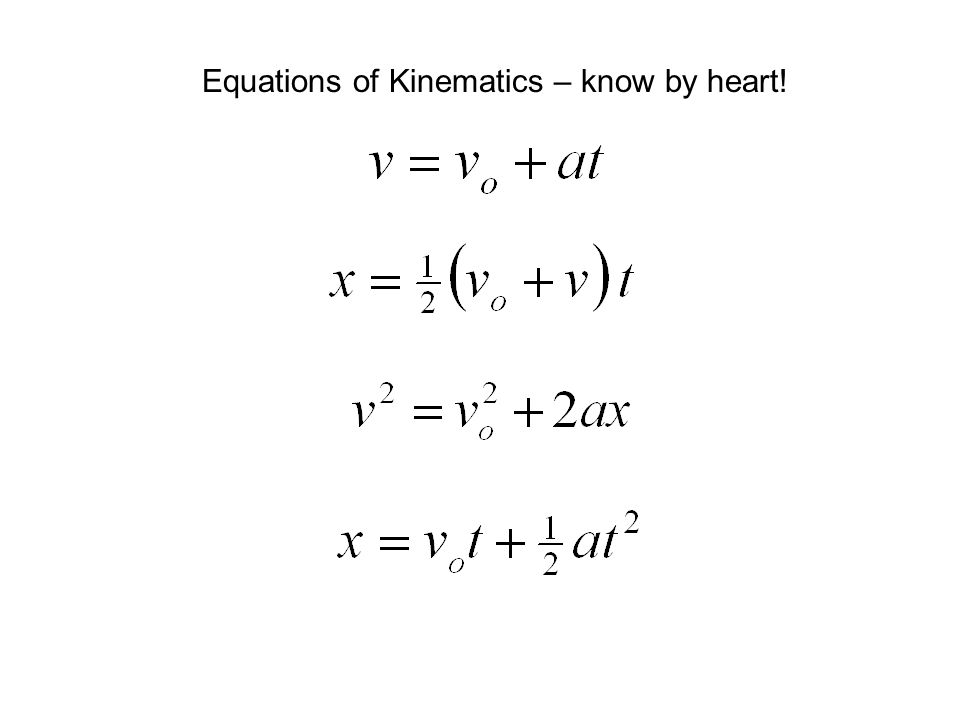 Equations of Kinematics – know by heart!