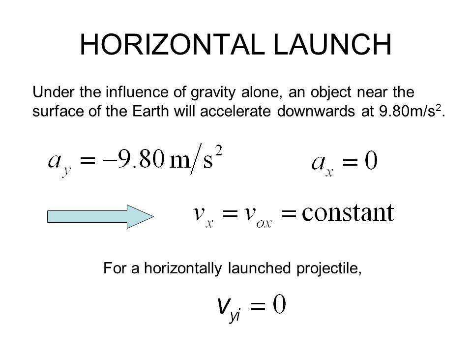HORIZONTAL LAUNCH Under the influence of gravity alone, an object near the. surface of the Earth will accelerate downwards at 9.80m/s2.
