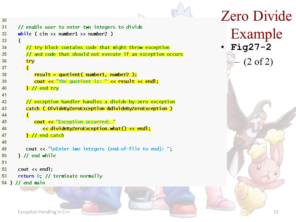 Zero Divide Example Fig27-2 (2 of 2) Exception Handling in C++