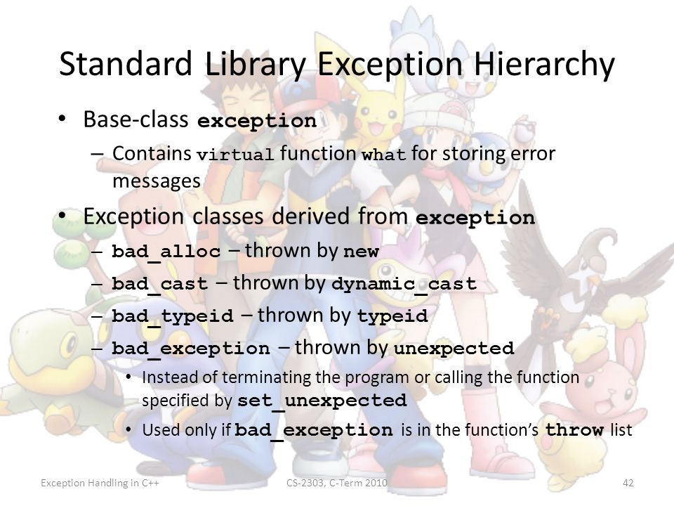 Standard Library Exception Hierarchy